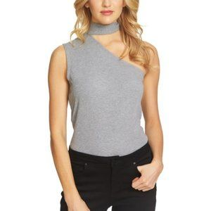 1 State One Shoulder Tie Neck Top Gray Ribbed Boho